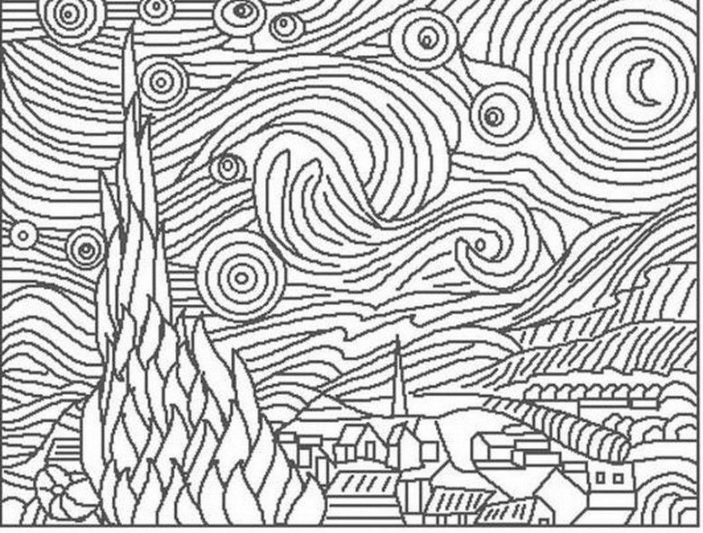 Easy pointillism drawings van gogh starry night coloring page of