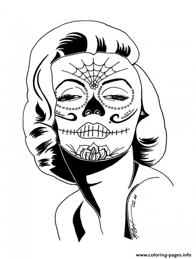 Girl Sugar Skull Coloring Pages - Coloring Home