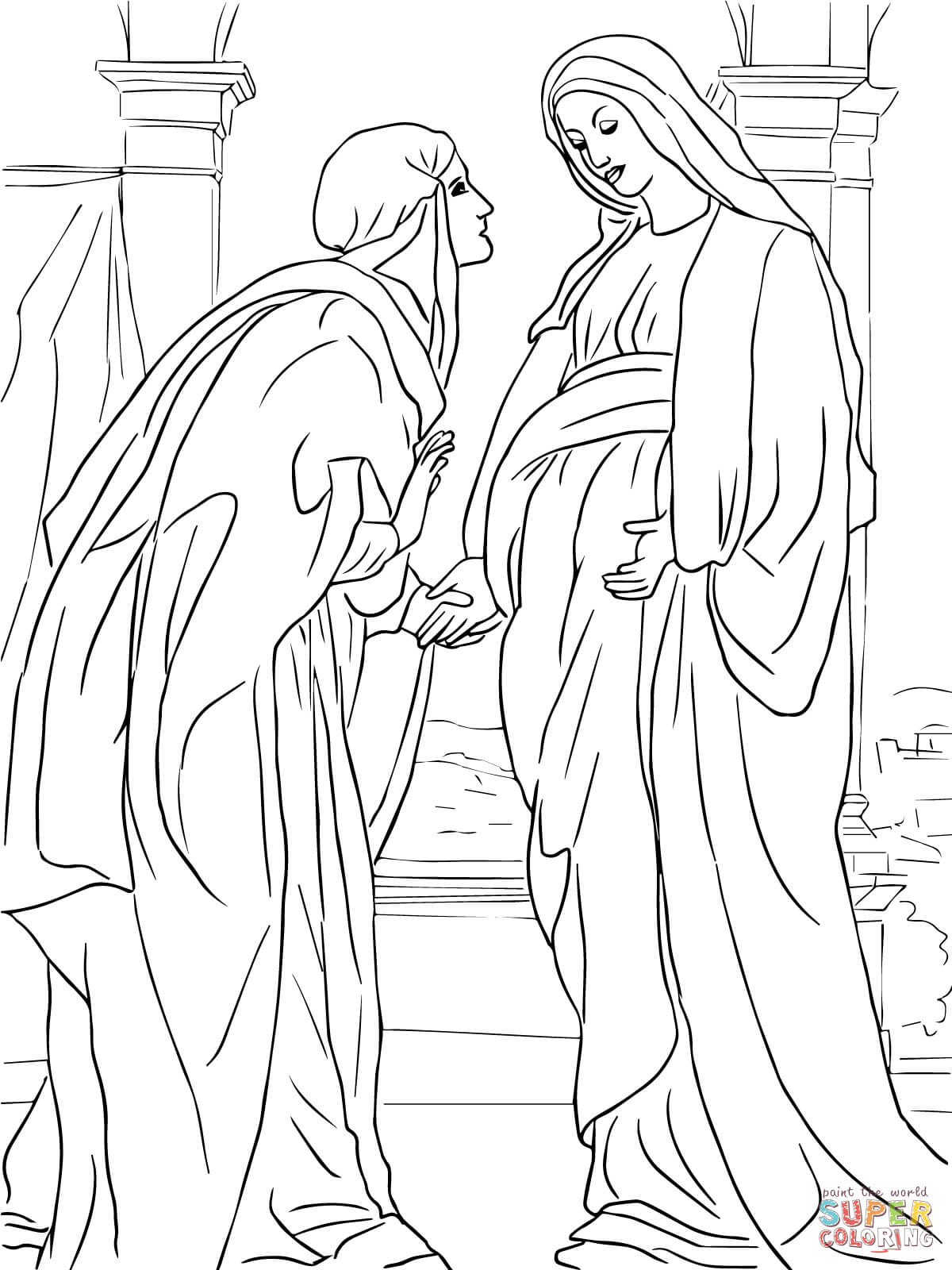Coloring Pages Angel Gabriel Coloring Page mary and angel coloring page az pages visitation of to elizabeth free printable