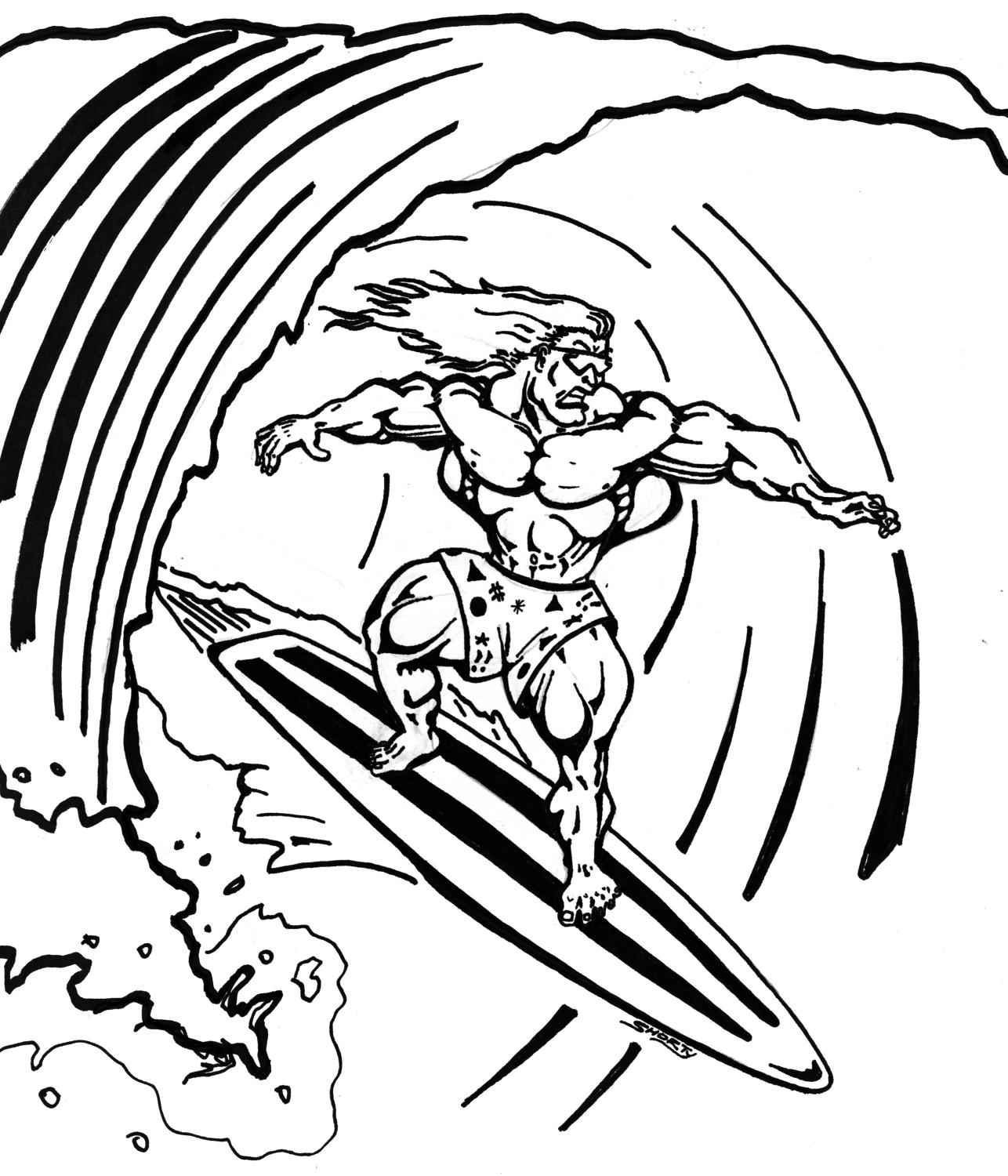 Surfboard Coloring Book Pages - High Quality Coloring Pages
