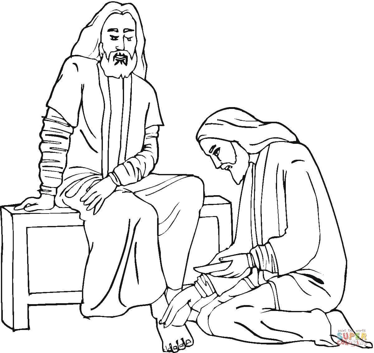 Jesus Foot Washing Coloring Page
