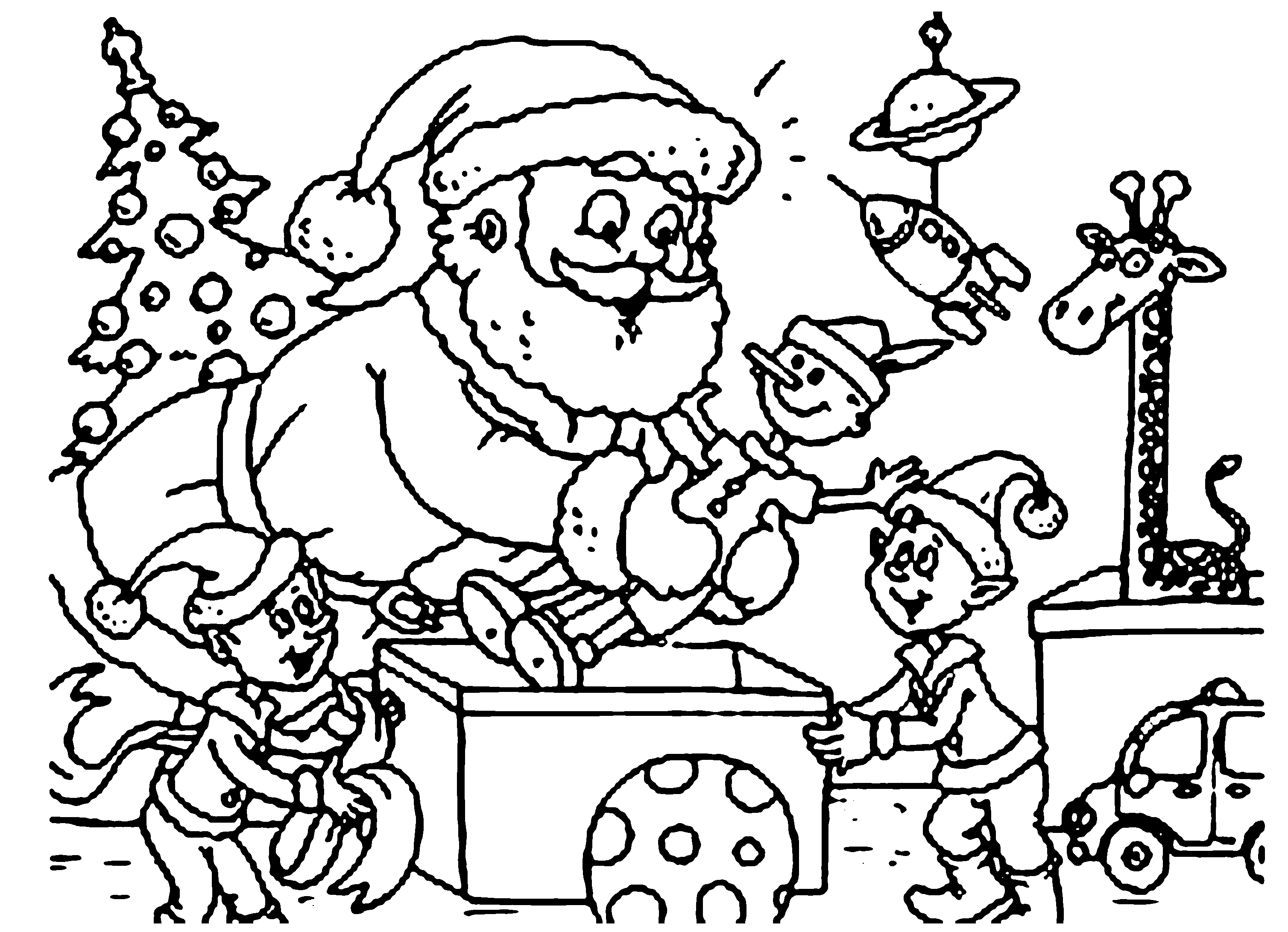 Santa And Elf Christmas Coloring Pages Printable | Christmas ...