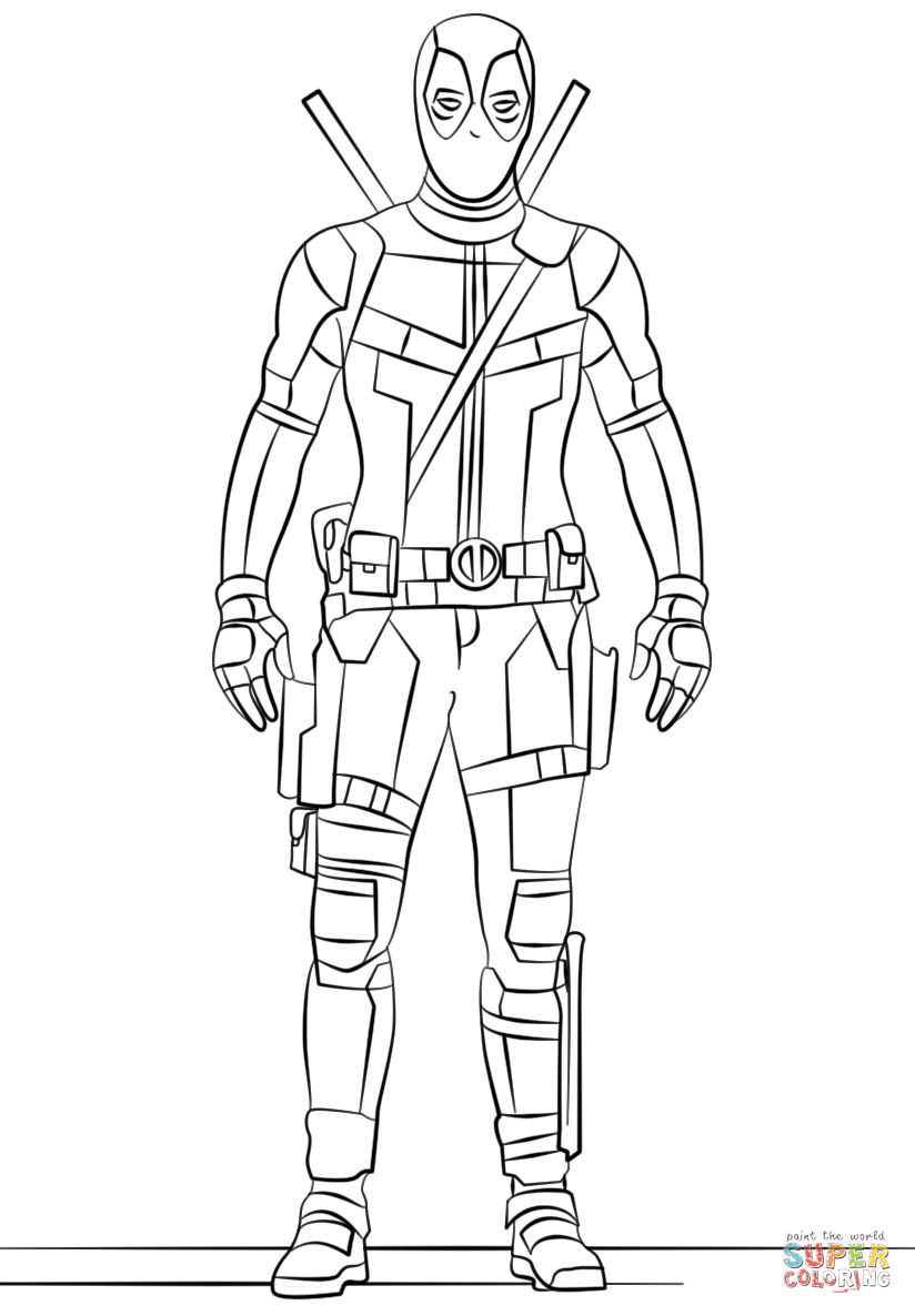 Deadpool coloring page coloring home for Deadpool printable coloring pages