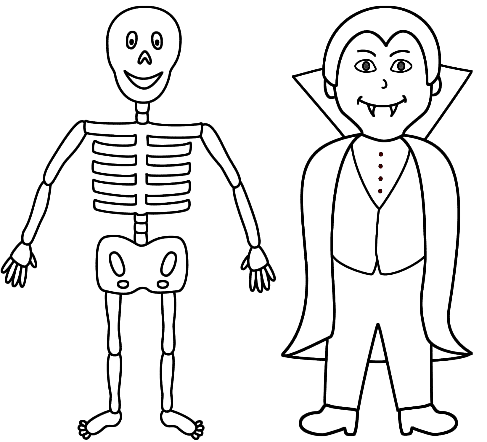 Skeleton With A Vampire Coloring Page Halloween Coloring Home