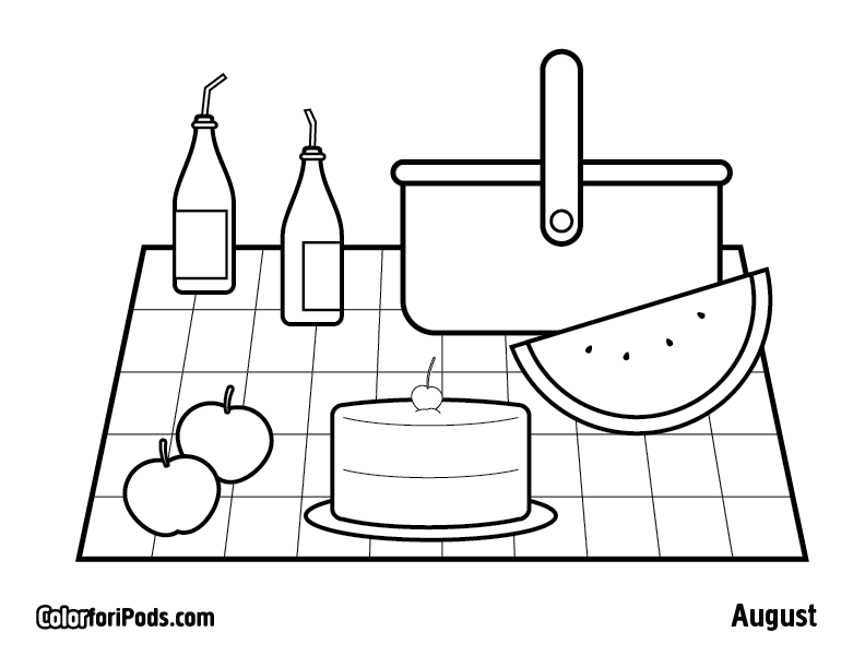 Picnic blanket page coloring pages for Picnic blanket coloring page