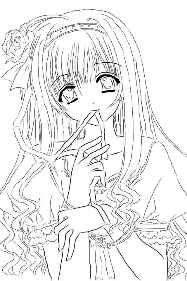 Anime Girl - Coloring Pages For Kids And For Adults
