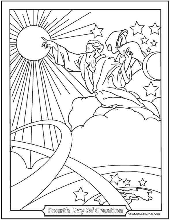 Creation Coloring Pages God Made The Sun, Moon, And Stars ⭐
