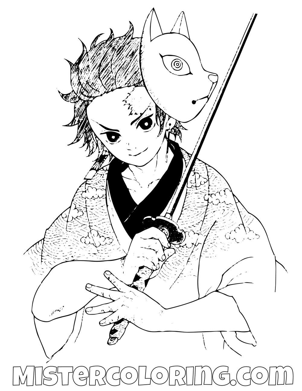 Tanjiro Kamado With Sword Demon Slayer Coloring Pages For Kids ...