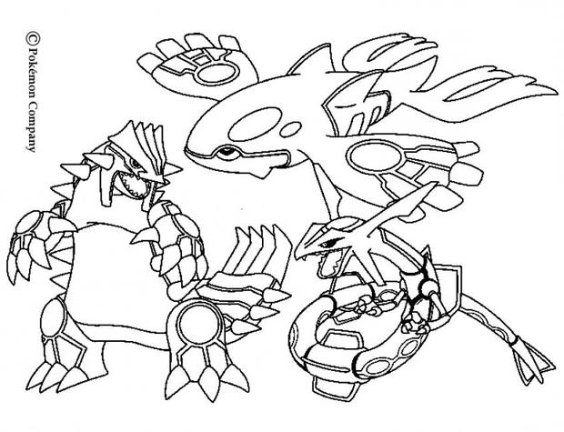 POKEMON BATTLES coloring pages - Groudon, Raykaza and Kyogre