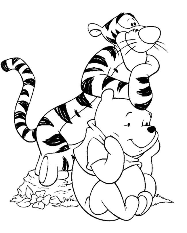 Kleurplaten Disney Winnie The Pooh.Winnie The Pooh And Tigger Coloring Pages Coloring Home