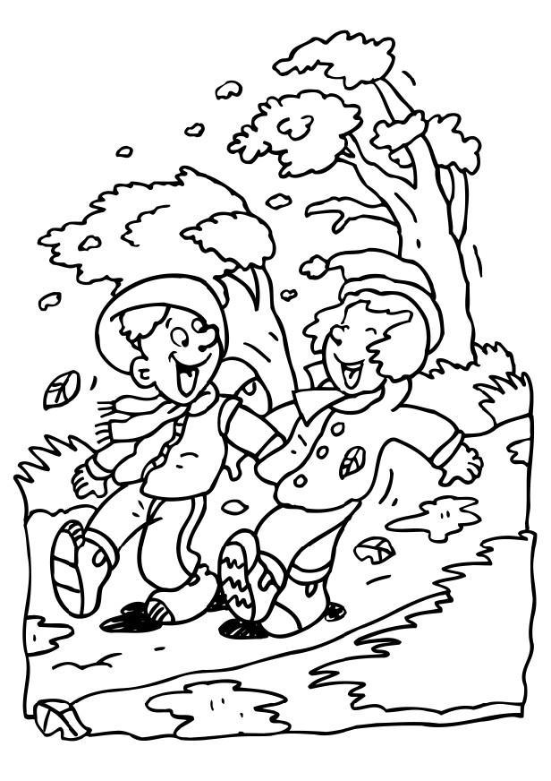 Coloring Page windy day - free printable coloring pages