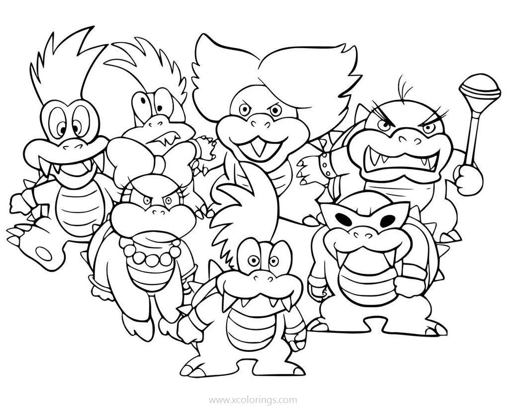 Bowser Koopalings Coloring Pages - XColorings.com