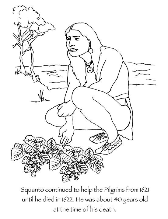 Squanto Thanksgiving coloring page