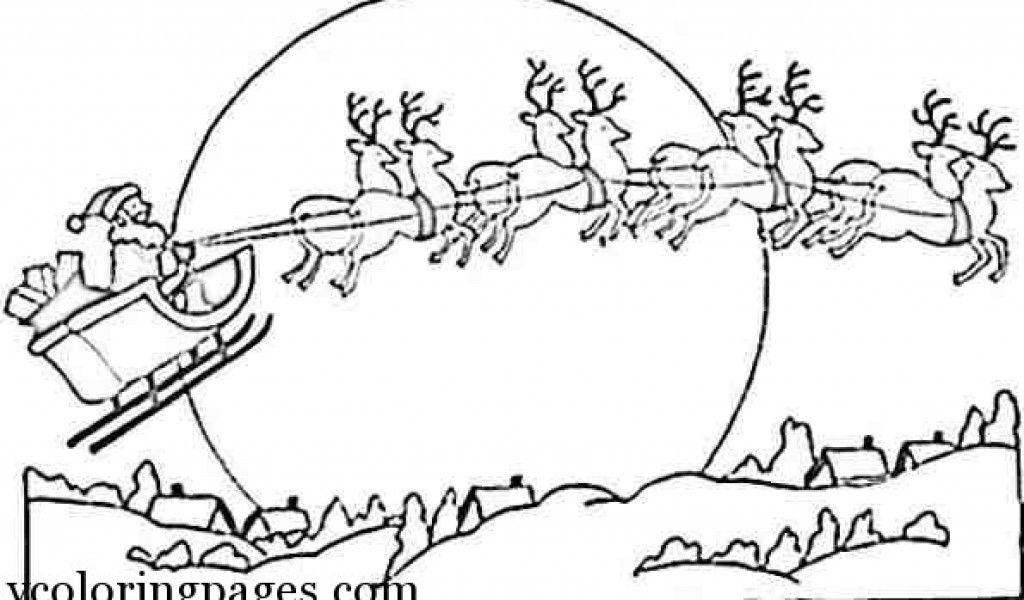 santa and his reindeer coloring pages - santa claus and reindeer coloring pages