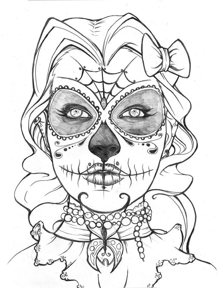 Coloring Pages Of Roses And Skulls - Coloring