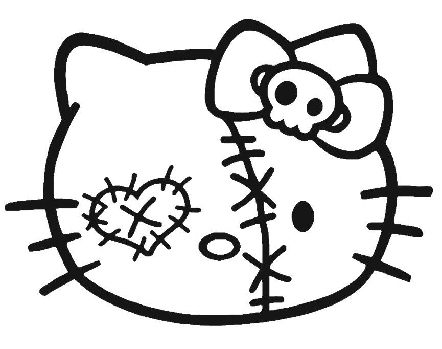 Hello Kitty Head Coloring Pages : Hello kitty halloween coloring page az pages
