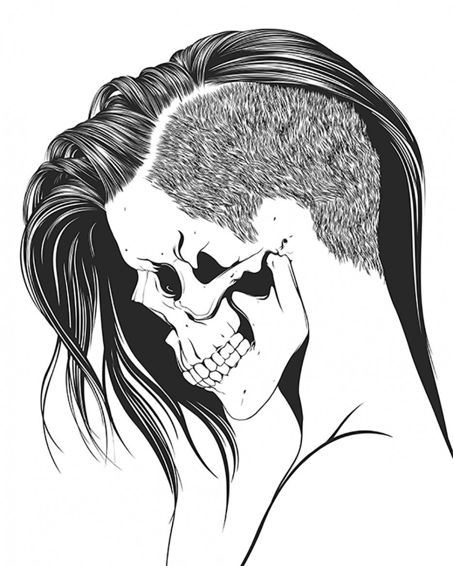 Skeleton Face Line Drawing : Skull coloring pages for girls home