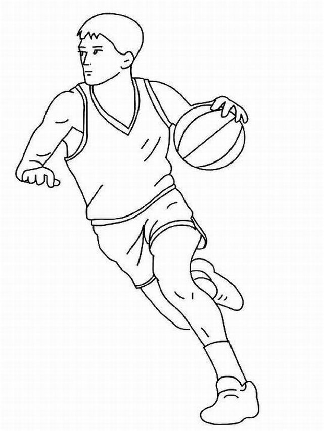 - Free Printable Basketball Coloring Pages Basketball Player Dribble -  Coloring Home