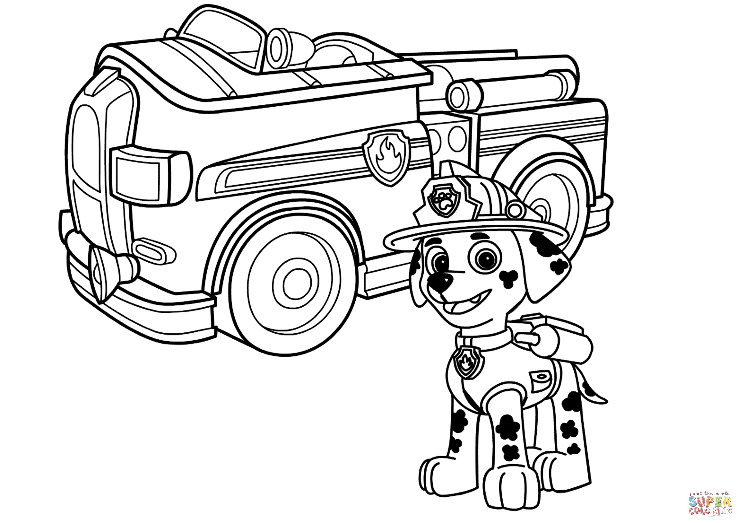 Uncategorized Coloring Fire Truck paw patrol marshall with fire truck coloring page free printable printable