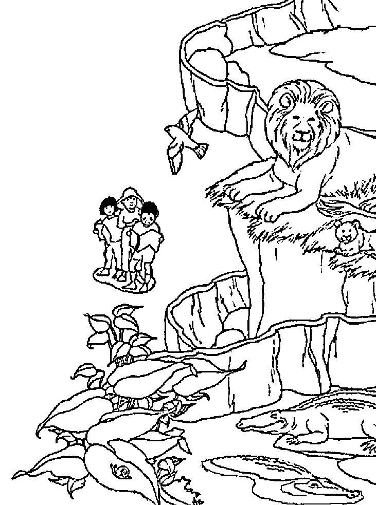 Zoo Scene Coloring Pages