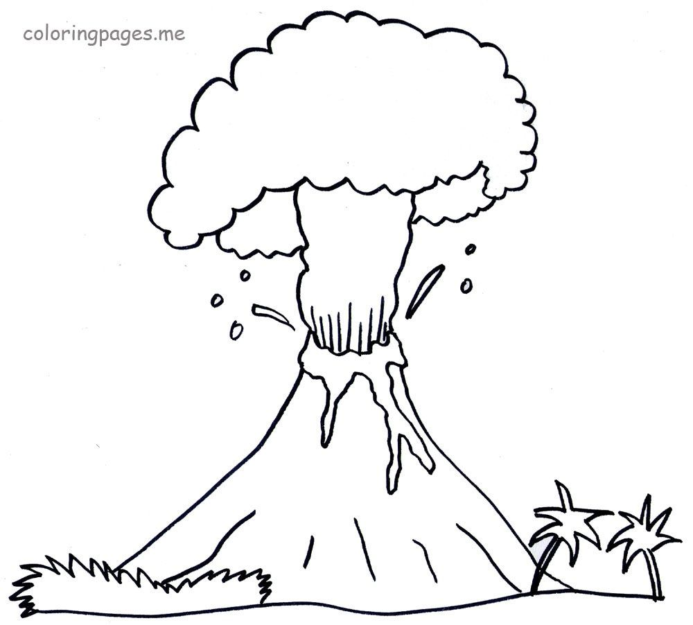 v is for volcano coloring pages - photo #22