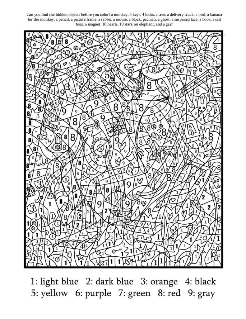 Coloring Pages: Printable Color By Number For Adults Free Coloring ...