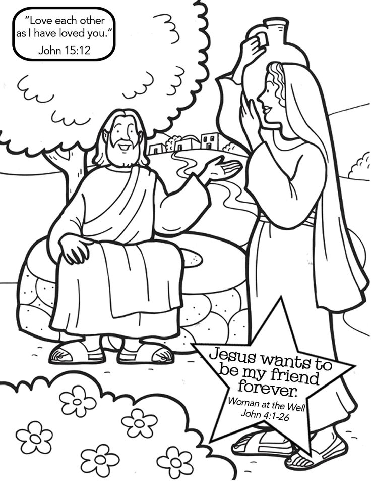 Woman At The Well Printable Coloring Page - Coloring Home