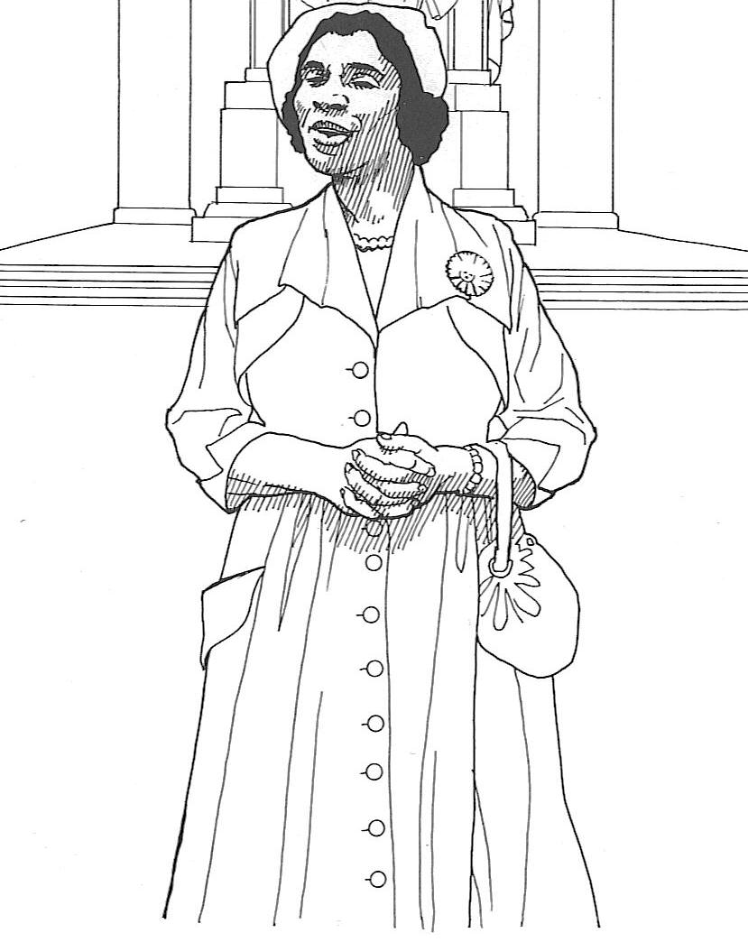 African-American woman - Black History Month - Rosa Parks Coloring Pages