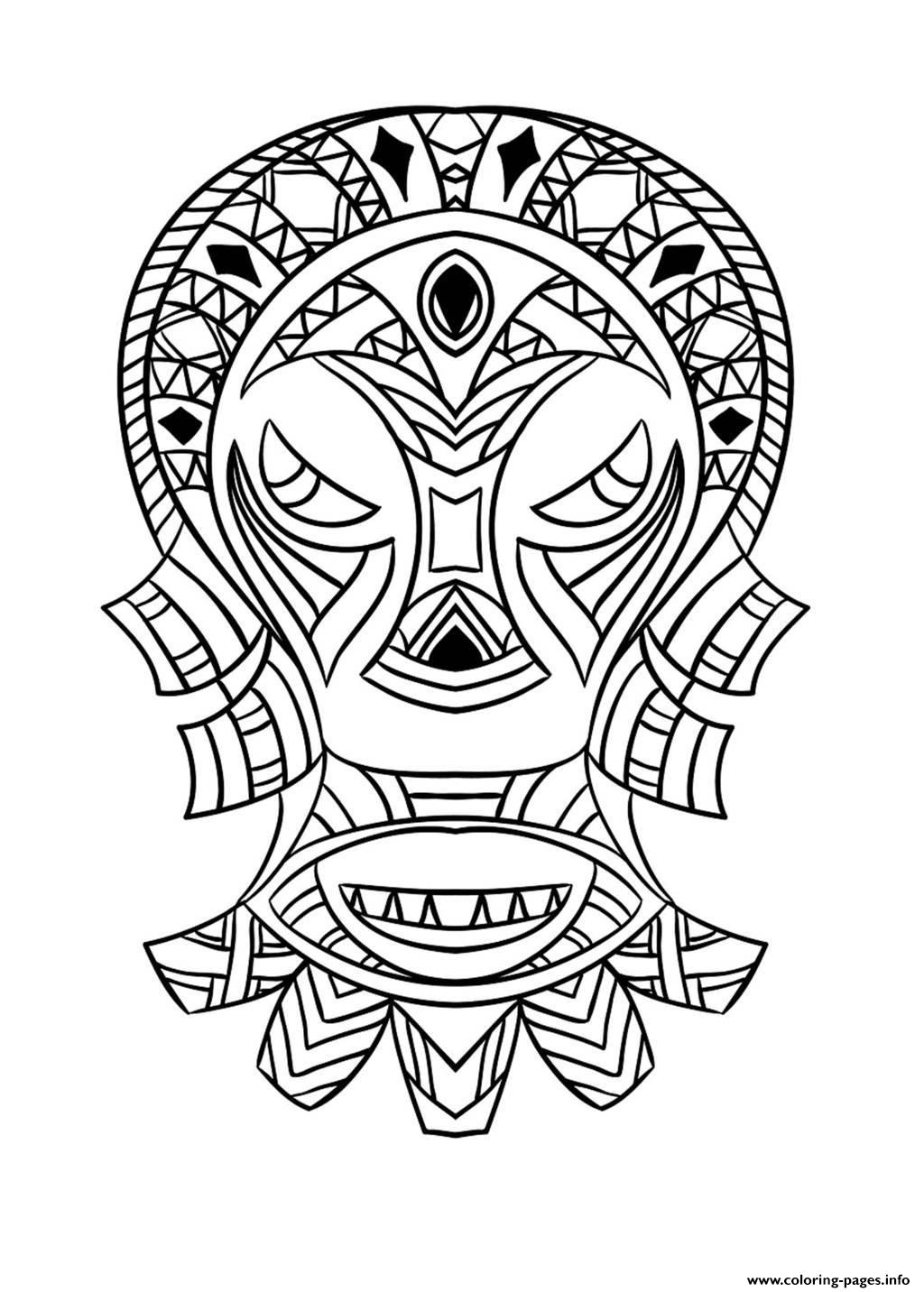 African Mask Coloring Pages Coloring