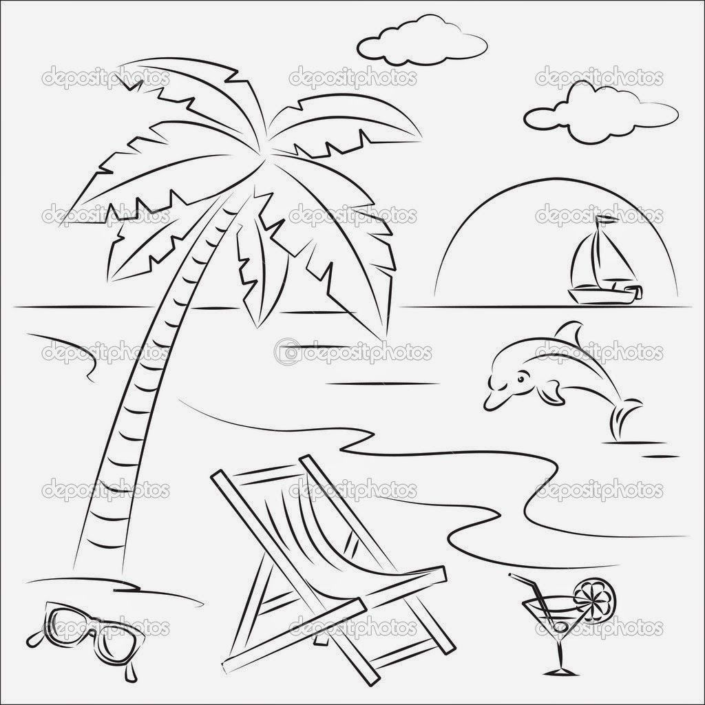 10 Summer Coloring Pages For Kids: Beach Scene - Coloring Home