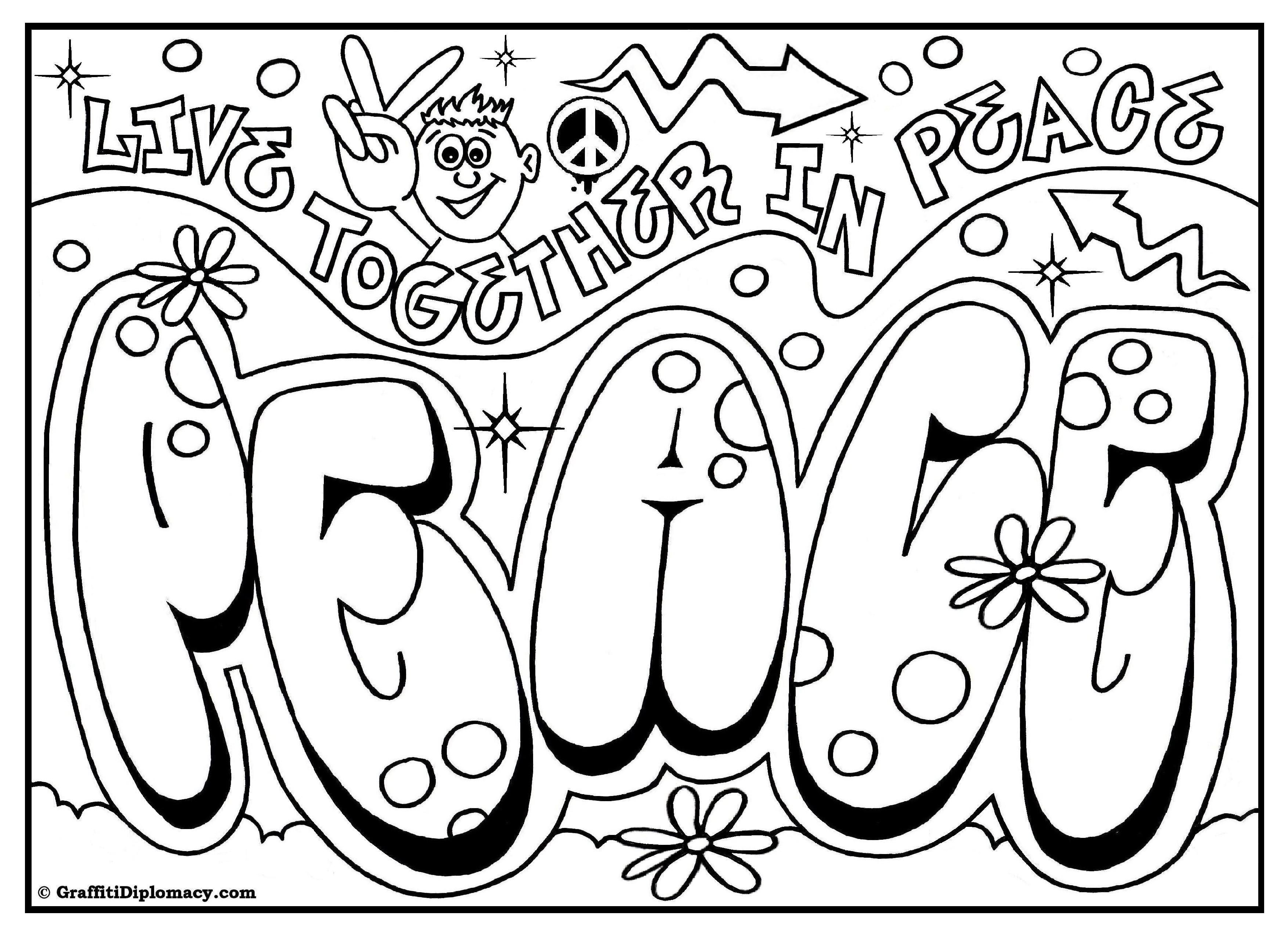 Cool Coloring Book Pages #10 - Free Printable Graffiti Coloring ...
