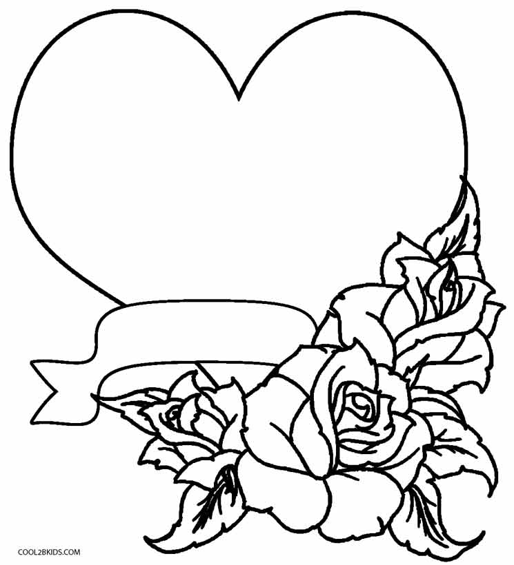 Coloring Pages Flowers Hearts Butterfly