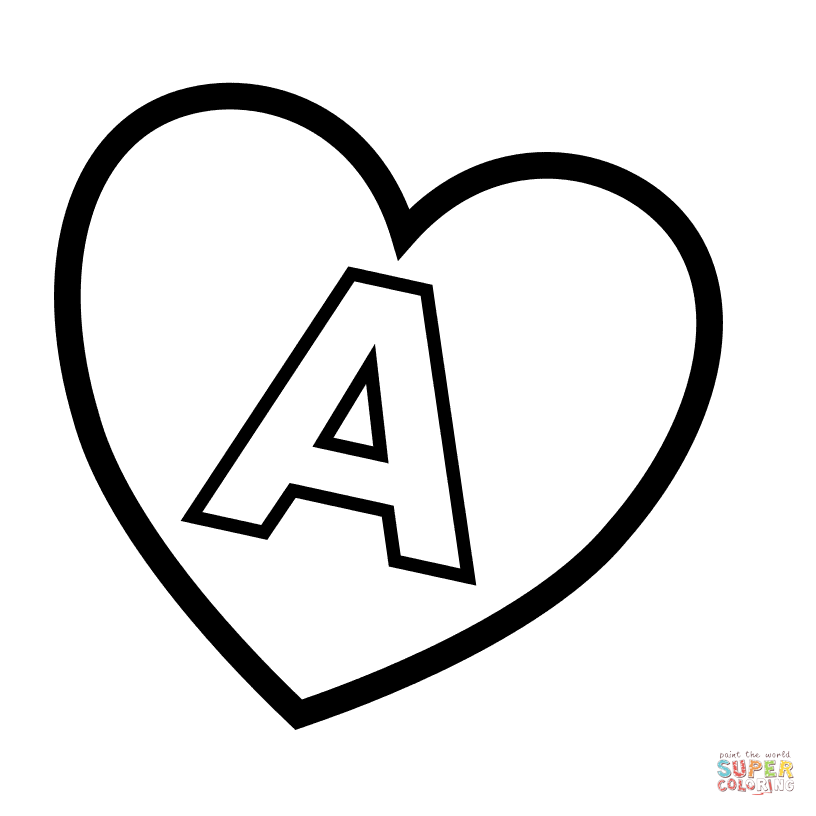 Letter A in Heart coloring page | Free Printable Coloring Pages