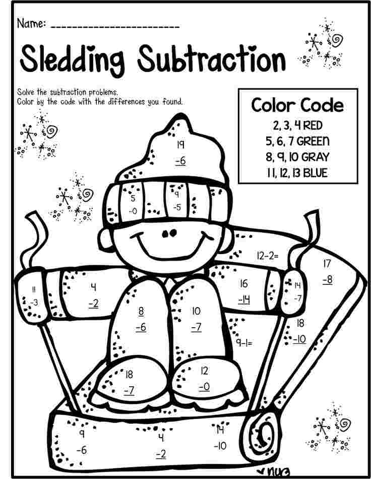 Free Math Coloring Pages For 9st Grade Winter Math Literacy