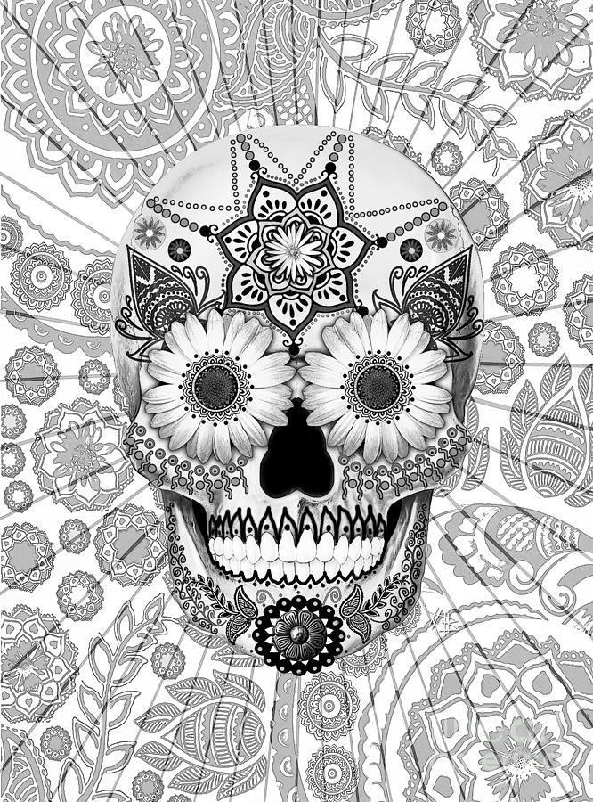 Printable Skull Adult Coloring Pages
