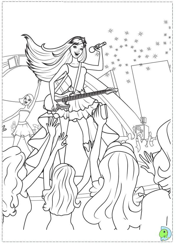Barbie- The princess and the Popstar Coloring page- DinoKids.org