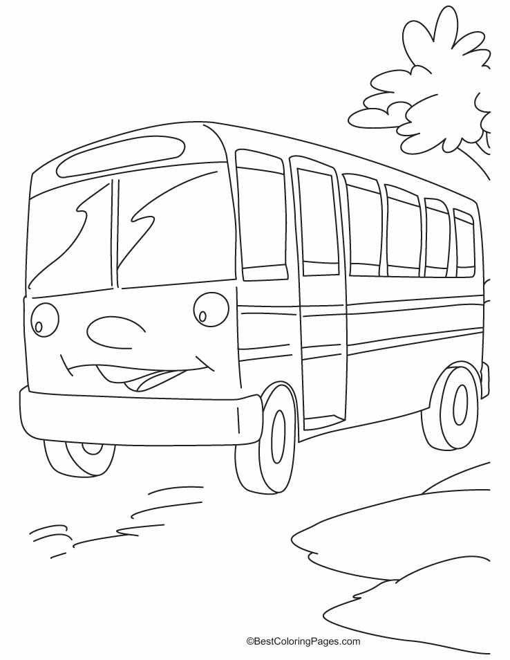 This Bus Is Waiting For The Riders Coloring Pages