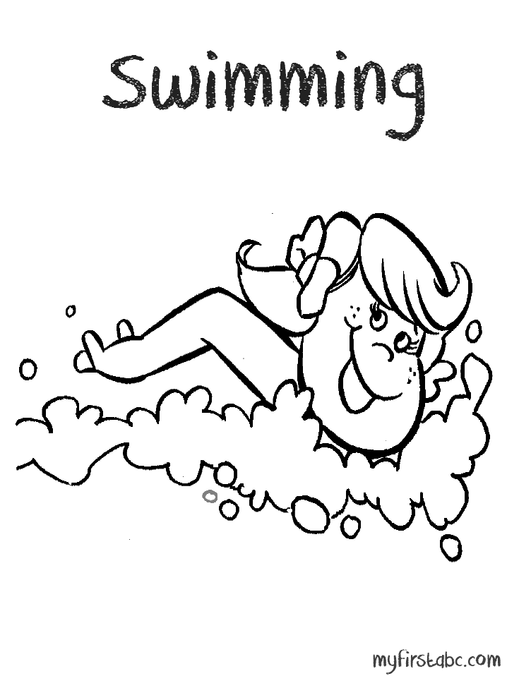 coloring pages swimming in a lake | Girl Swimmer Coloring Page - Coloring Home