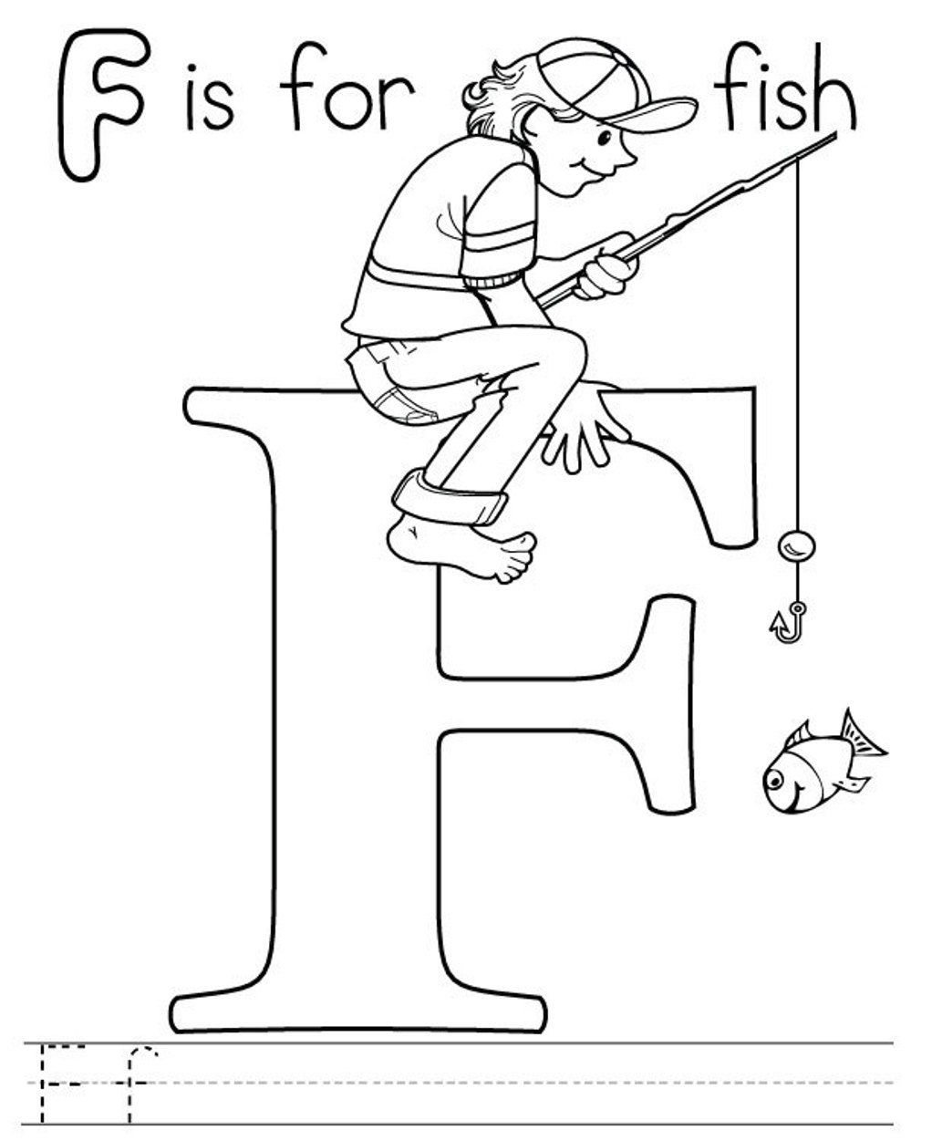 f for fish coloring pages - photo #8