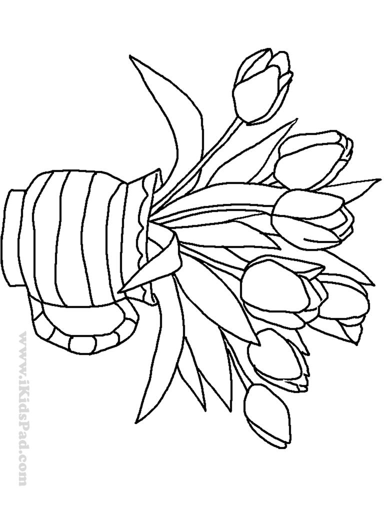 Vase And Flowers Coloring Page