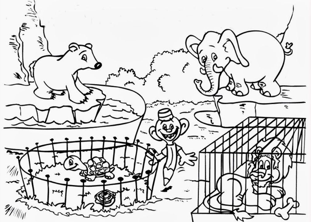 Zoo Scene Coloring Pages Coloring