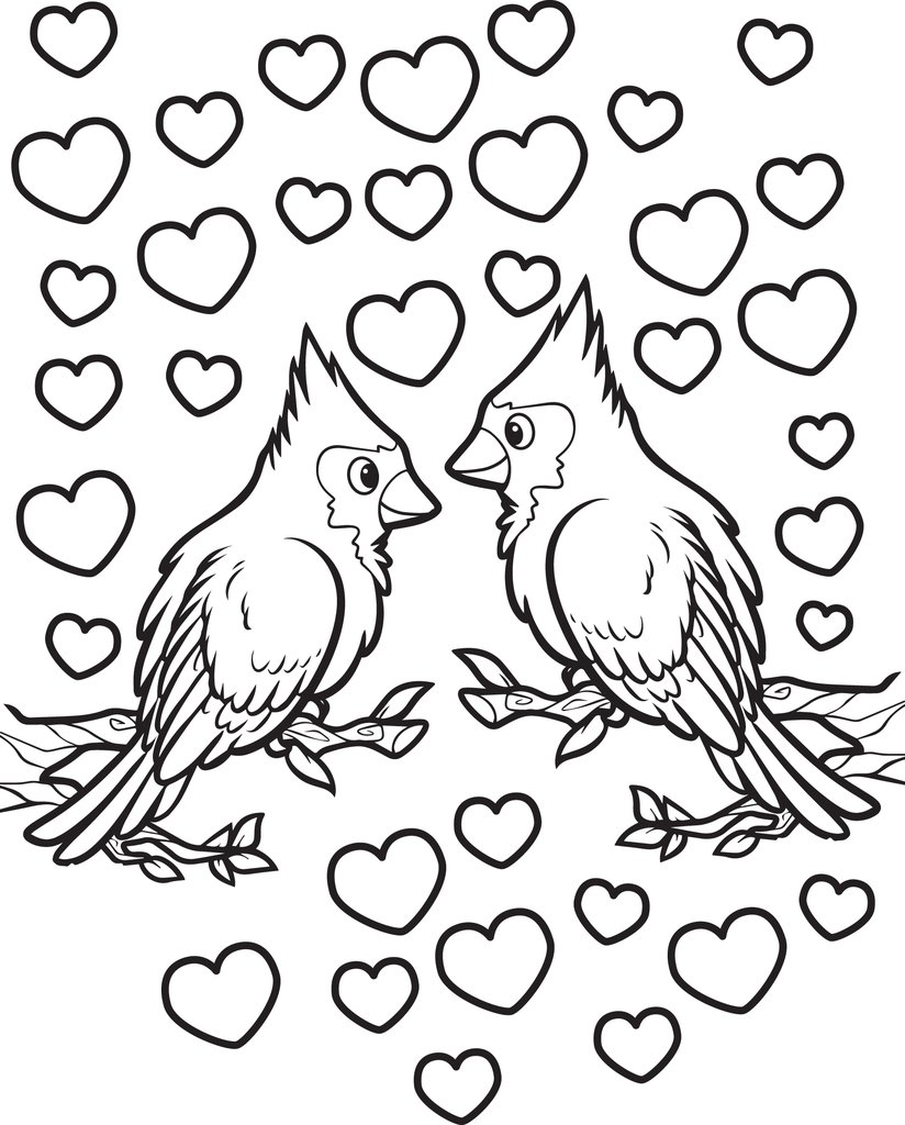 Love Birds Coloring Pages Coloring Home