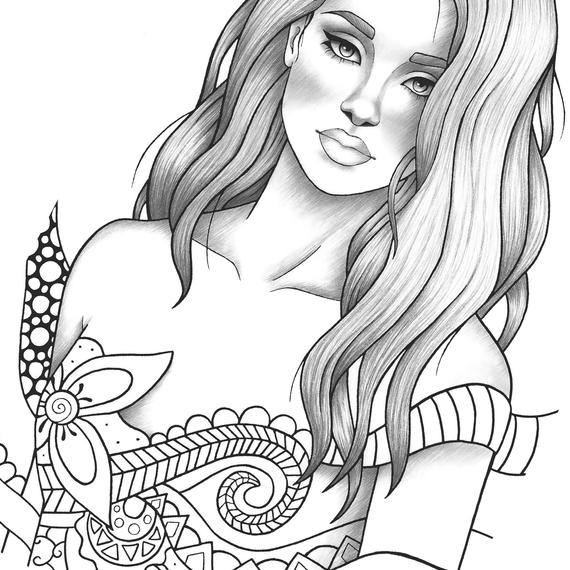 Adult coloring page fantasy girl ...etsy.com · In stock