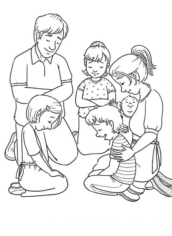 Children Praying Coloring Page - Coloring Home