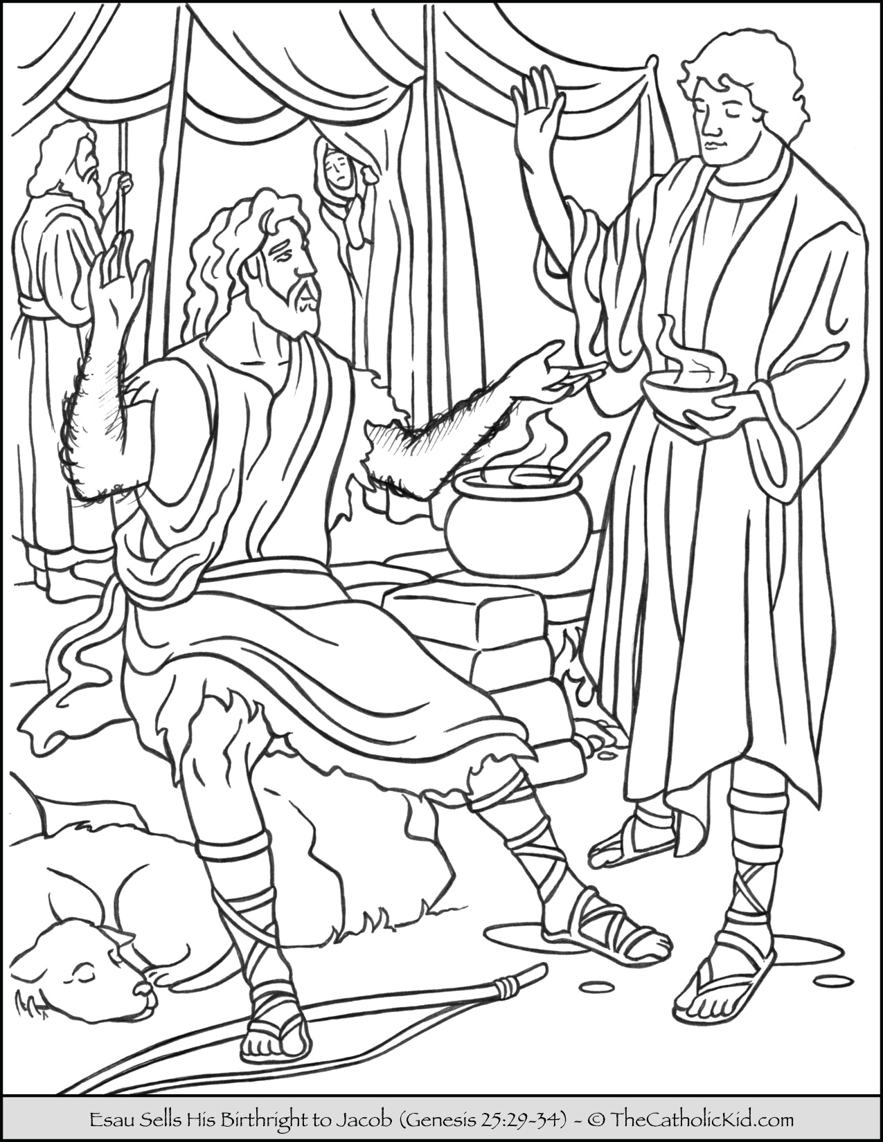 Esau Sells Birthright To Jacob Coloring Page Thecatholickid Com Coloring Home