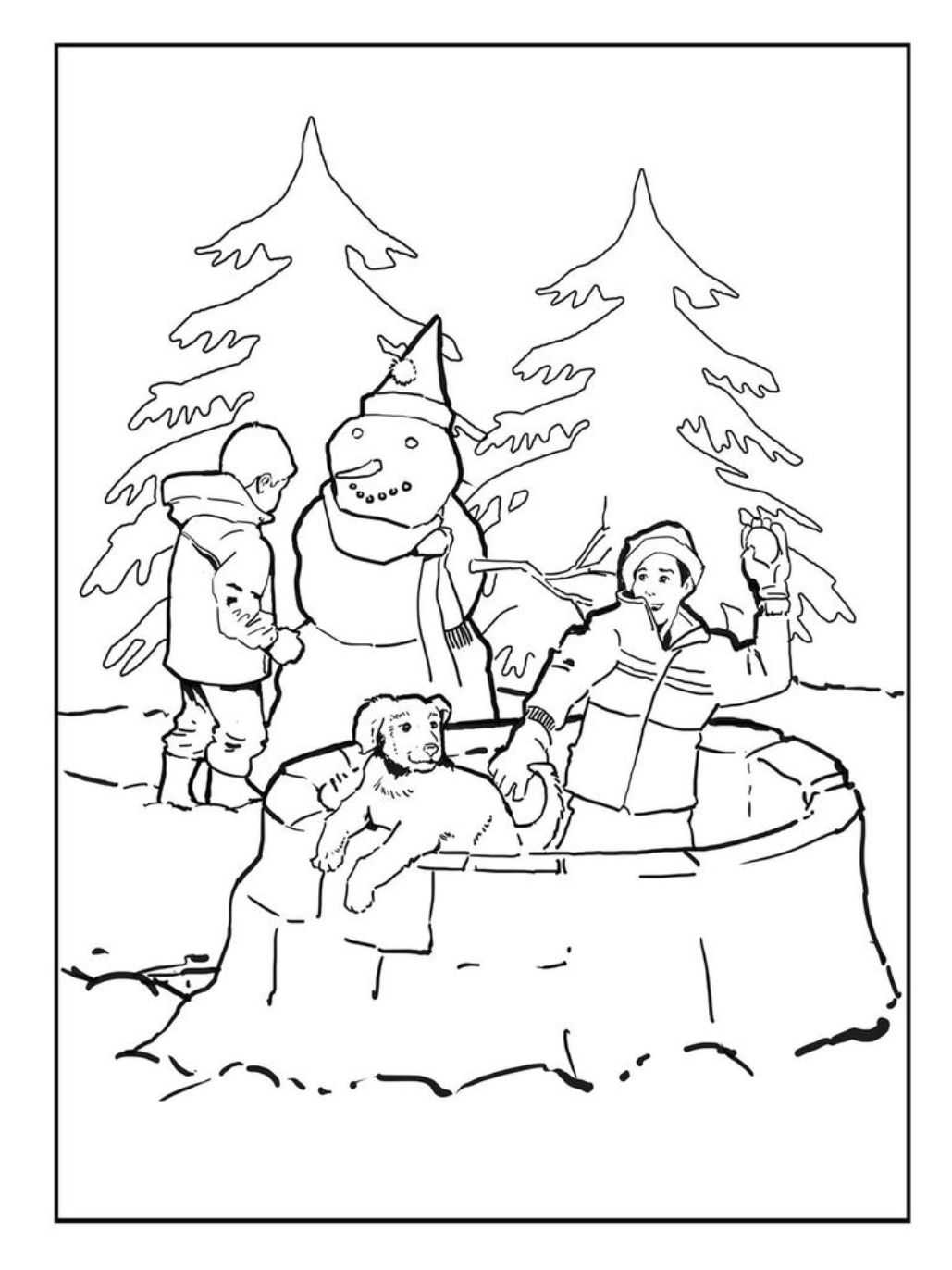 Clip Art Snowy Day Coloring Page snow buddies coloring pages az page