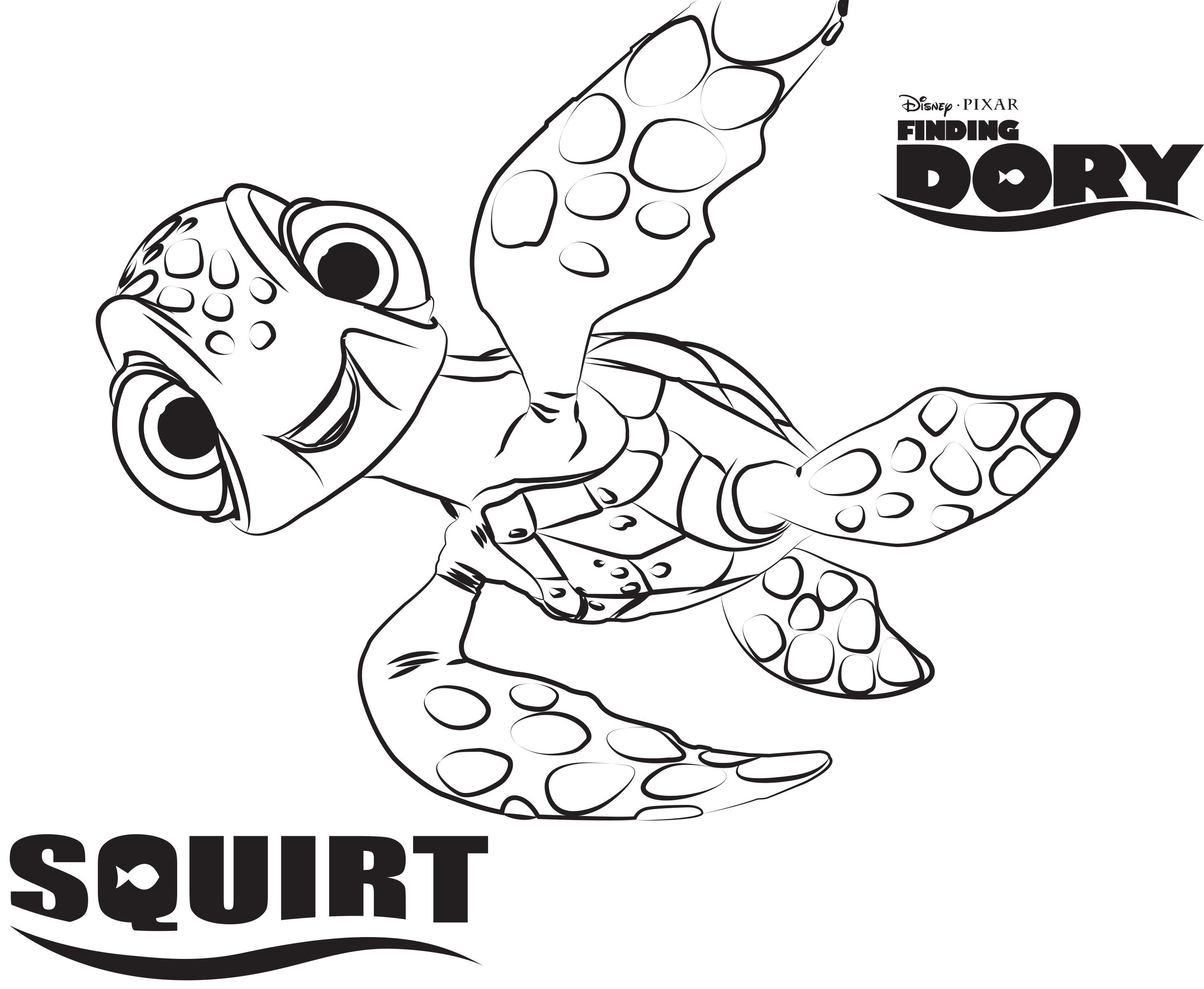 Squirt Disney S Finding Dory Coloring Pages Sheet Free Disney Printable Coloring Home