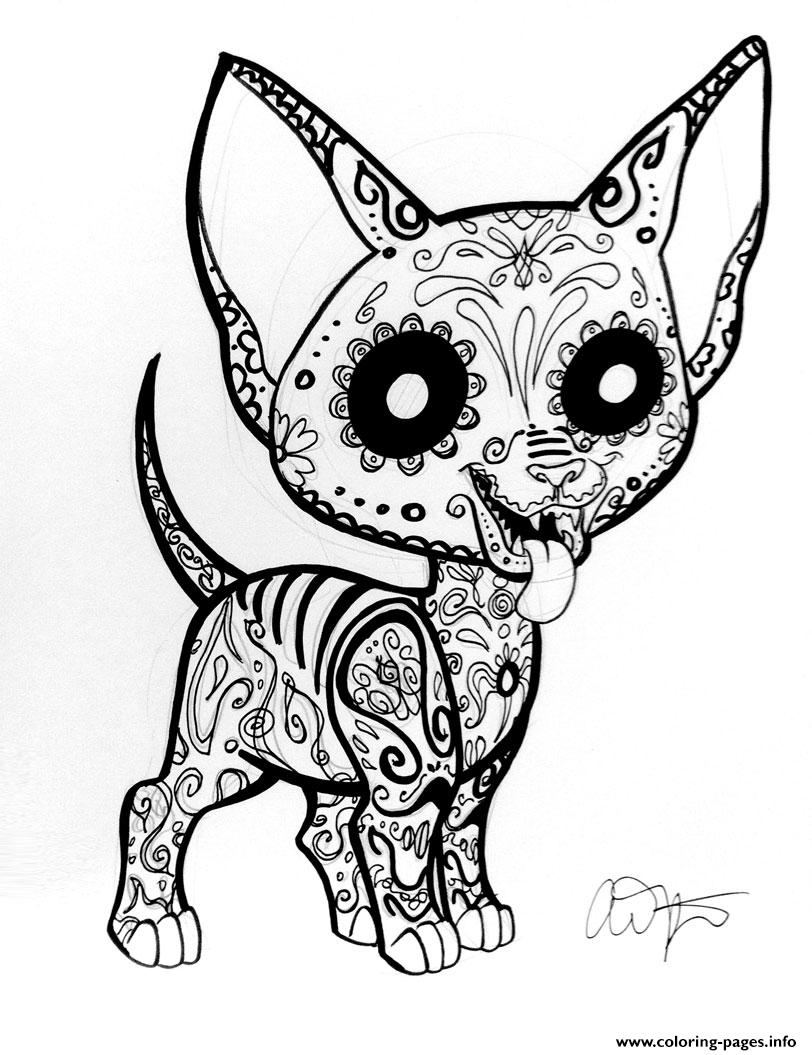 Print car sugar skull cute Coloring pages