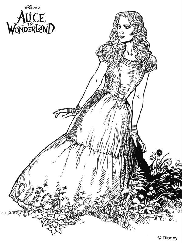 Alice In Wonderland Coloring Pages Pdf : Alice in wonderland doorknob coloring page