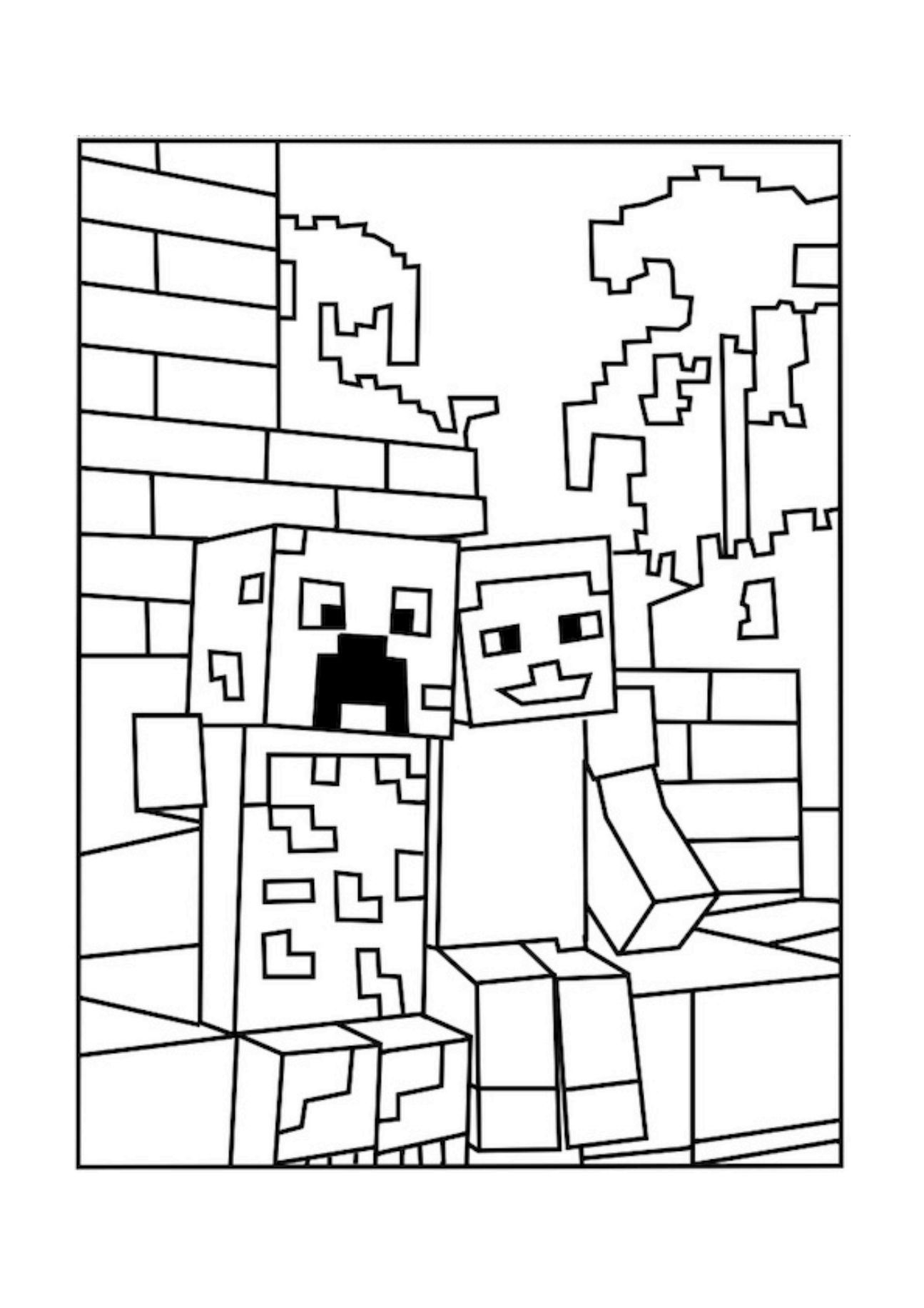 This is a graphic of Enterprising Minecraft Coloring Pages Printable